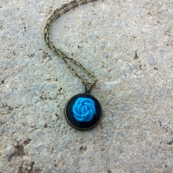 Embroidered Necklace, Blue Rose Necklace, Rose Jewelry, Boho Gypsy Chic Jewelry, Chain with Pendant, Blue Jewelry