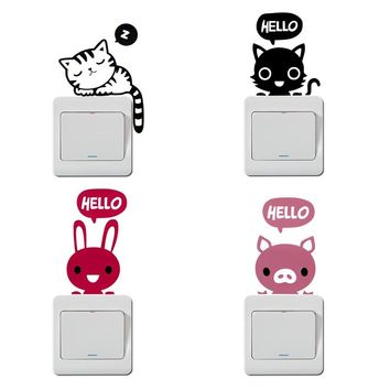 1 PCS New Arrival 8 Styles Cartoon Animal PVC Home Decoration Switch Sticker Wall Stickers for Kids Room