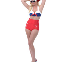 White & Navy Katie Swim Bra - Unique Vintage - Prom dresses, retro dresses, retro swimsuits.