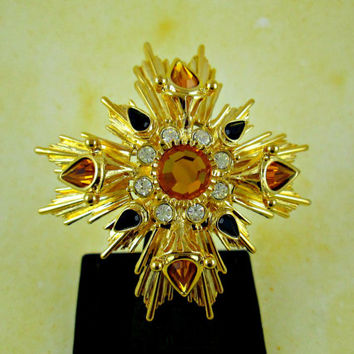 Rare Joan Rivers Maltese Cross Pin Wow! Bright Gold Metal Yellow Topaz & Black Clear Rhinestones Fabulous Detail Design Excellent Condition