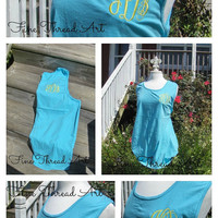 Monogram Tank Top Sleeveless Pigment Dyed Tee Tshirt Monogrammed Tank for Beach Gym Cover Up