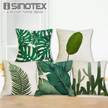 Africa Tropical Plant Printed Cushion Cover Green Leaves Linen Pillow Cases Chair/Car/Sofa Pillow Cover Home Decorative Pillow