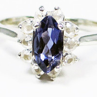 Iolite Marquis White Topaz Sterling Silver Ring