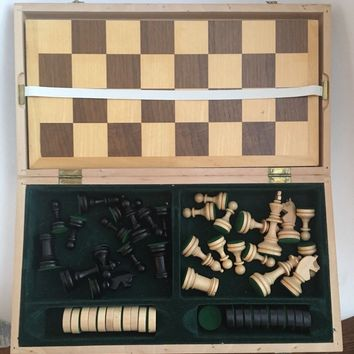 Vintage Board Strategy Game - Wooden Carved Chess & Checkers Set in a wooden box