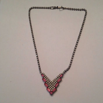 Vintage Pink Rhinestone Necklace Costume Jewelry