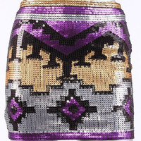 Sequin Aztec Mini Skirt- LAST ONE
