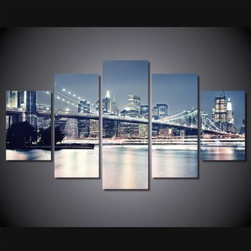 Brooklyn Bridge New York at night 5 piece wall art panel picture living room