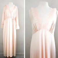 Vintage Pearly Pink and Ruffles Nightgown and Peignoir Set by Jolie Two - Bridal Peignoir Set - Size Large