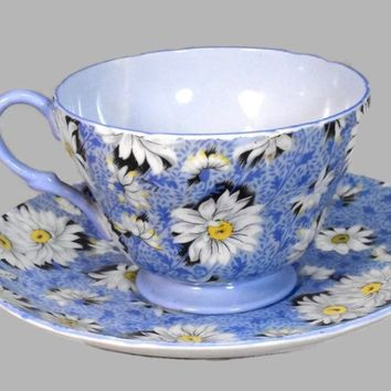 Estate Shelley Bone China Blue Daisy Chintz Teacup and Saucer c1930s
