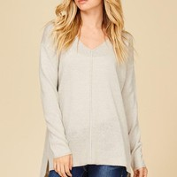 Grey V-Neck Side Slit Sweater