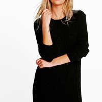 Lucy Cable Knit Soft Boucle Jumper Dress | Boohoo