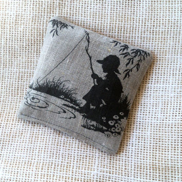 Lavender sachet, natural linen, vintage silhouette of boy fishing