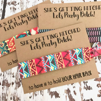 Bachelorette Party Hair Tie Favors | Aztec Prints |To Have and To Hold Your Hair Back