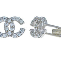 Channel Style Cufflinks with Zirconia .925 Sterling Silver Rhodium Finish