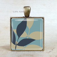 Leaf key ring plant necklace woodland botanical nature jewelry glass tile autumn fall winter bronze bag accessories