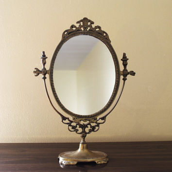 Vintage Brass Table Mirror FREE SHIPPING Black by vntagequeen
