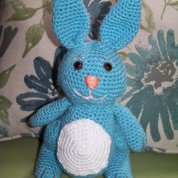 Blue and white stuffed bunny rabbit-hand crocheted