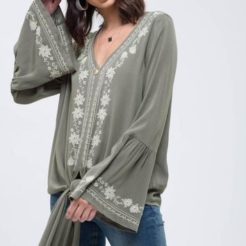Women's Embroidered V-Neck Top with Front Tie