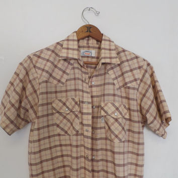 Vintage Men's Ecru Plaid Tan Striped Levi's Western Form Fit Short Sleeve Cowboy Snap Button Up Shirt Hipster Boho Folk Size Small Country