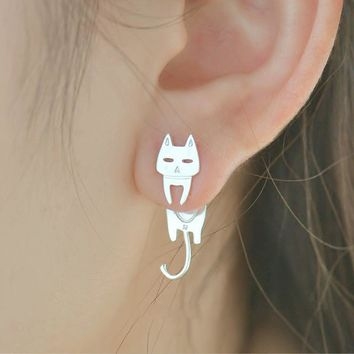 Allergy-free 925 Sterling Silver Stud Earrings For Women Cat Fish Cute Animal Hypoallergenic 2018 Fashion Ladies Jewelry Gift