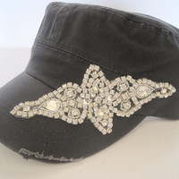 Womens Cadet MIlitary Army Bling Rhinestone Gray Shabby Chic Hat Distressed  Cap