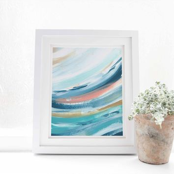 Contemporary Beach House Swell Wave Painting Wall Art Print