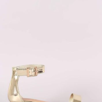 Bamboo Metallic Open Toe Ankle Strap Sandal