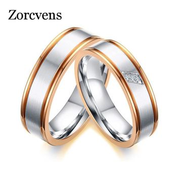 ZORCVENS 2017 Simple Rose Gold-color Edge Wedding Rings Band for Women Men CZ Stones Alliance Couple Anniversary Ring Bijoux