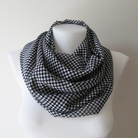 Navy Blue White Square Pattern Chiffon Infinity Scarf - Circle Scarf - Loop Scarf - Fall Winter Summer Fashion