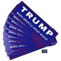 Donald Trump for President Make America Great Again Bumper Sticker 10 Pack & Lapel Pin