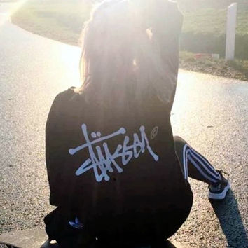 """Stussy"" Personality thickening contracted printing restoring ancient ways round neck sweaters Black"