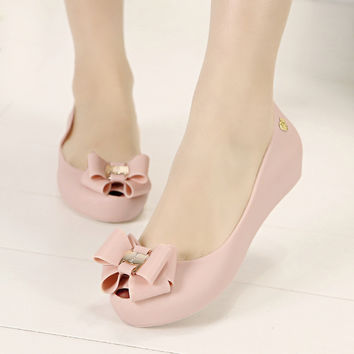 Women Flats with Bow Frozen Shoes Plastic Jelly Shoes Melissa Peep Toe 2014 Summer New  Female Sandals