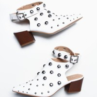 Square Studded Wrap Ankle Strap Bootie - White