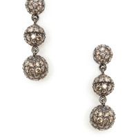 Sethi Couture Women's Brown Diamond Triple Orb Drop Earrings - Silver