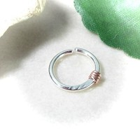 Silver Nose Ring with Pink Gold Hammered & Wrapped