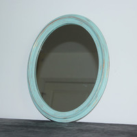 Shabby oval mint green distressed mirror, green decor, teal decor, rustic mirror, wall mirror, wood mirror