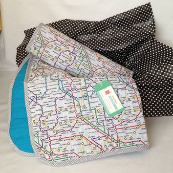 London Underground~ modern baby quilt~ baby boy blanket~ train~ map~ multicolour~ crib quilt~ cot blanket~ cot quilt~ baby shower gift