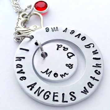 """Bling Chicks """"I Have Angels Watching Over Me"""" Necklace with Birthstones"""
