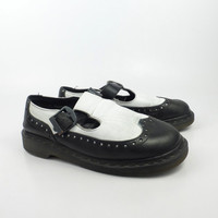 Dr Martens Shoes Mary Janes 1990 Doc Black and White Leather Made in England UK size 6 US size 8