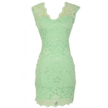 Lily Boutique Maegan Floral Lace Open Back Fitted Dress in Mint - DRESSES Lily Boutique