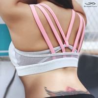 Mermaid Curve Sexy Strappy lulu Yoga Bra Women  Padded Sports Bra Push Up Shockproof Gym Running Underwear jogging  Fitness Top