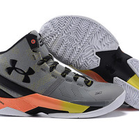 Men's Under Armour Stephen Curry 2 Iron Sharpens Iron Grey Black Basketball Shoes