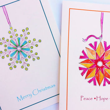Merry Christmas Card, Art Card, Contemporary Watercolor, Minimalist, Geometric, Turquoise, Emerald Green, Lime Green, Pink