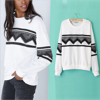 Women's Fashion Pullover Tops Strong Character Geometric Print Hoodies [4966028740]