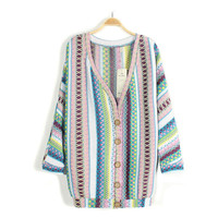 Embroidery color stripe bat v-neck cardigan sweater