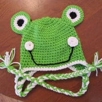 Frog Beanie hat, with or with out braid ties. coupon code avaliable. Free shipping.