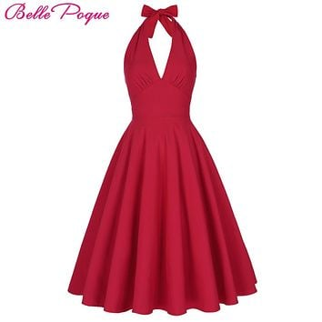 Belle Poque Women Summer Sexy Red Retro Vintage Halter V-Neck Party Picnic Dresses Casual Woman Clothing marilyn monroe Dress