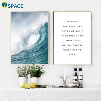 7-Space Sea Quotes Canvas Painting Nordic Posters And Prints Wall Art Canvas Wall Pictures For Living Room Cuadros Decoracion