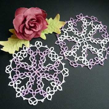 "Wedding coasters-Handmade doily ""Maltese cross""-wedding decor - home decor - table decor-retro party - vintage style - OOAK-lilac wedding"
