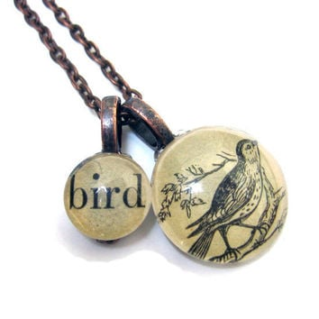 Birds and Bees BIRD Vintage Book Copper Extra Long Necklace